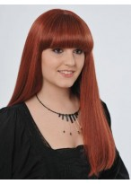 """Fabulous 22"""" Straight Full Lace Human Hair Wig With Bangs"""
