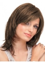 Natural Straight Lace Front Mid-Length Remy Hair Wig
