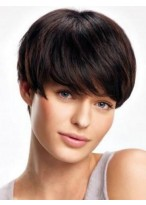 Gorgeous Human Hair Lace Front Short Straight Wig