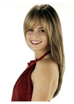 """24"""" Silky Straight With Layered Human Hair Wig"""