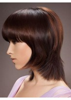 Short Straight Remy Human Hair Capless Wig