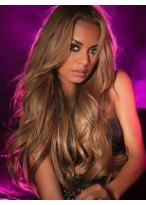 Elaborately Long Wavy Human Hair Lace Front Wig