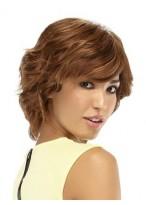 Short Shag Mono Top Human Hair Wavy Wig