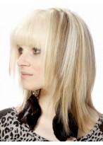 Pretty Medium Length Human Hair Capless Wig