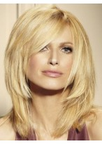 Medium Layered Human Hair Lace Front Blonde Wig