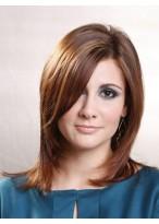 Brown Medium Human Hair Wig With Side Bangs