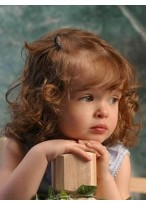 Lovely Curly Remy Human Hair Kids Wig