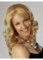 Light Blonde Shoulder Length Synthetic Wavy Lace Wig