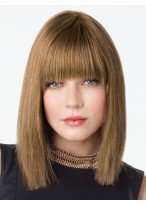Sleek Straight Shoulder Length Human Hair Lace Wig