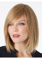 Remy Human Hair Bob Style Lace Wig With Side Swept Fringe