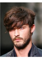High Quality Wavy Short Brown Men Wig