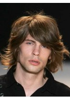 Medium Wavy Human Hair Wig For Men