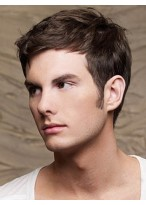 Short Full Lace Mens Human Hair Wig