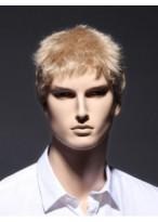 Short Blonde Sassy Full Lace Remy Human Hair Men Wig