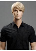 Capless Straight Blonde 6 Inch Medium Men Wig