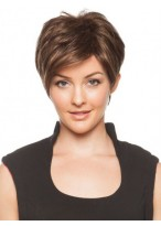 Capless Brown Straight Short Wig
