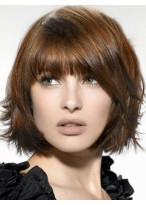 Glamorous Medium Lace Front Straight Synthetic Wig
