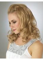 Graceful mid-length Blonde Wavy 3/4 Wigs