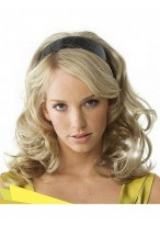 Long Wavy Synthetic 3/4 Wigs with Braided Headband