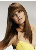 Brown Stylish Women Straight Human Hair Wig